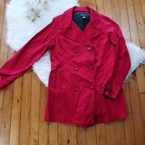 Red button front trench coat